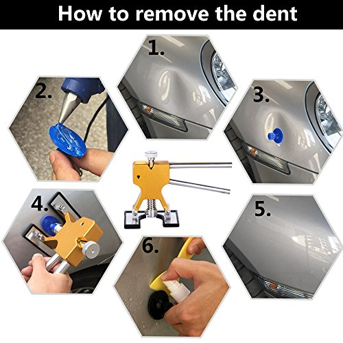 YOOHE Auto Paintless Dent Removal Tools Kit - Gold Dent Removal Kit Dent Puller with Pulling Tabs for Car Hail Dent Removal and Door Dings Dent Repair by YOOHE (Image #4)