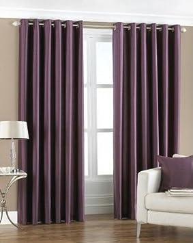 Aubergine/ Purple, Width 66u0026quot; X Drop 90u0026quot;, Faux Silk Eyelet/