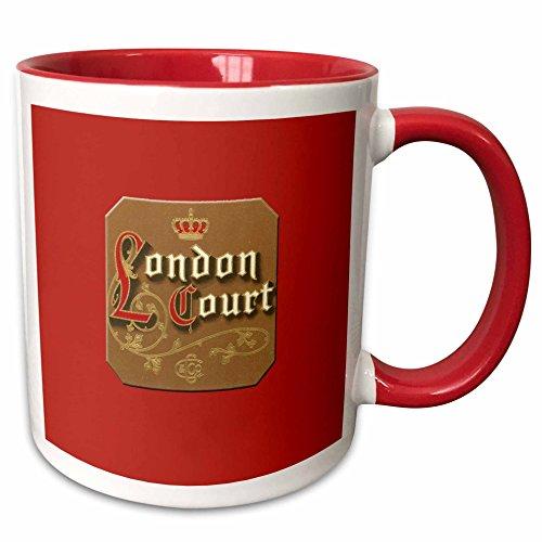 3dRose BLN Vintage Cigar and Cigarette Labels - London Court Cigar Label on a Bright Red Background - 15oz Two-Tone Red Mug (mug_170115_10) ()