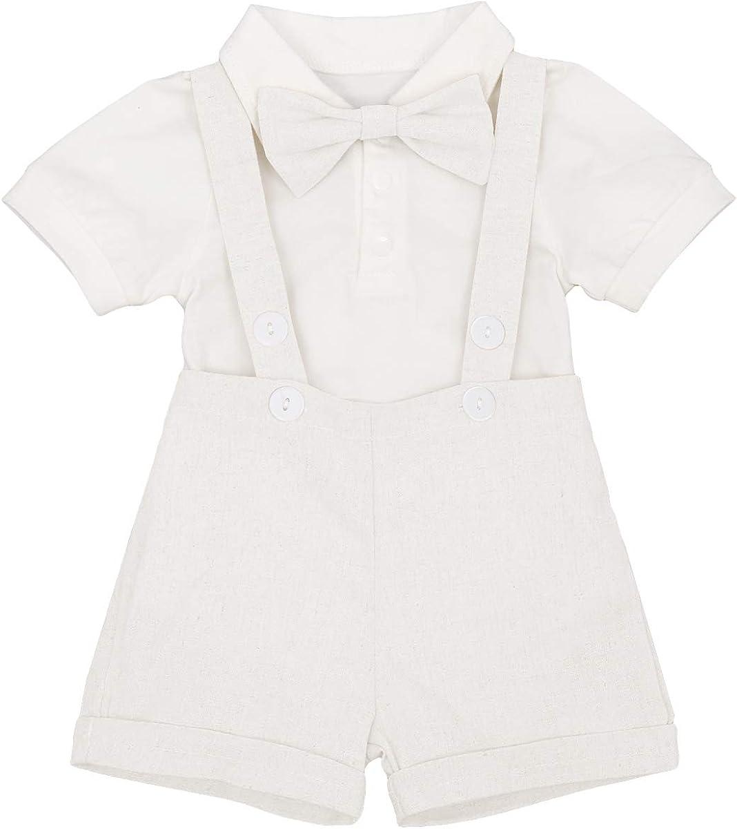 FYMNSI Traje de Bautizo para bebé + Pantalones Cortos de Lino + Corbata de moño 3 Piezas Traje Formal para niños pequeños Esmoquin de Boda Fiesta de cumpleaños 0-24 m