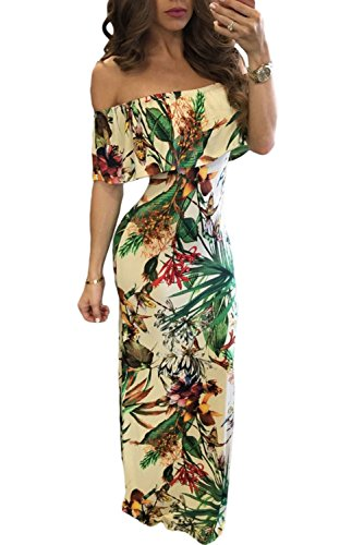 Wholesale Women Dress (Happy Sailed Women Botanic Print Off-The-Shoulder Maxi Dress, Medium Botanic)