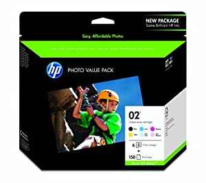 HP 02 Black, Cyan, Magenta, Yellow, Light Cyan & Light Magenta Original Ink Cartridges with Photo Paper, 6 pack (Q7964AN) from Hewlett Packard
