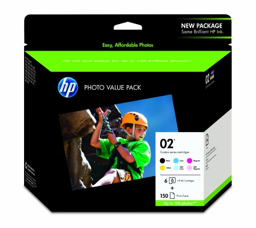 HP 02 Black, Cyan, Magenta, Yellow, Light Cyan & Light Magenta Original Ink Cartridges with Photo Paper, 6 Cartridges (Q7964AN)