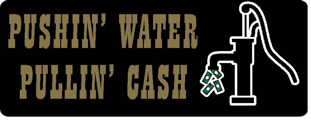 pushin water pullin cash rectangle (small), I Make Decals®, lunch box, tool box, phone, Hard Hat, vinyl, decal car sticker, 3.3'' x 1.3''