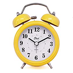 Slash 3 Vintage Retro Old Fashioned Quiet Non-ticking Sweep Second Hand, Quartz Analog Twin Bell Clock, Battery Operated, Loud Alarm, Nightlight Function (Yellow) S10125