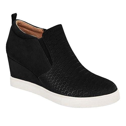 0071a622e146e Amazon.com | Chenghe Women's Platform Wedge Sneakers Fashion High ...