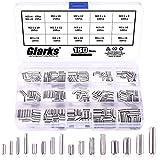 Glarks 180Pcs M2 M2.5 M3 M4 Slotted Spring Pin Assortment Kit, Split Spring Dowel Tension Roll Pins - 304 Stainless Steel