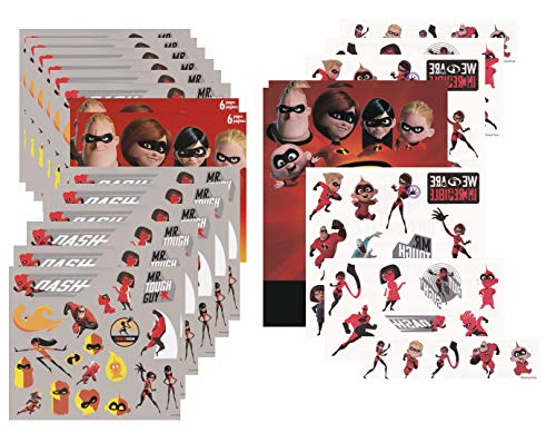 Ultimate Incredibles 2 Temporary Tattoo & Sticker Party Pack Favors - Featuring Mr. Incredible, Elastigirl, Violet, Dash and Jack Jack - (240 Stickers & 50 Tattoos)