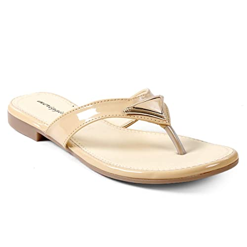 591ba96940c422 meriggiare® Women PU Synthetic Leather Slip-on Open Back Triangled Buckle  Design Casual