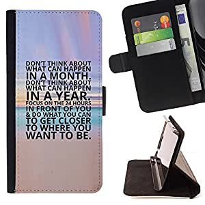 BullDog Case - FOR/Samsung ALPHA G850 / - / inspiring beach sunset poster text /- Monedero de cuero de la PU Llevar cubierta de la caja con el ID Credit Card Slots Flip funda de cuer