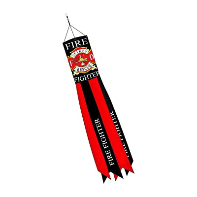 """Two Group - Fire Fighter Americana - Everyday Applique Decorative Windsock 12"""" x 60"""" : Garden & Outdoor"""