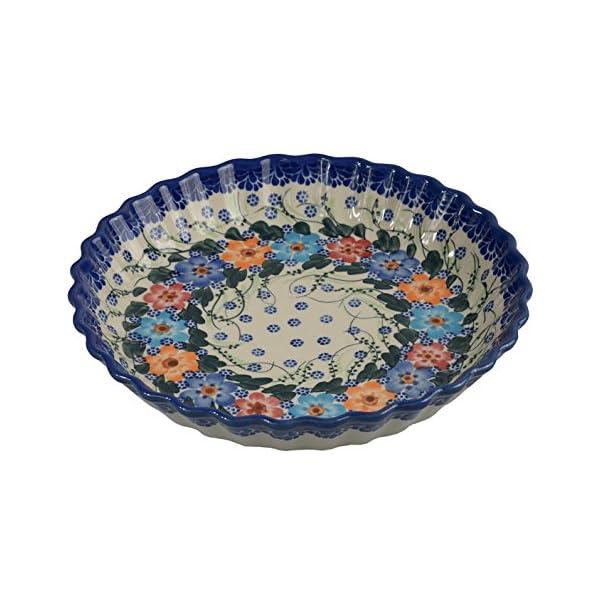 Traditional Polish Pottery, Round Pie or Casserole Baking Dish 10in / 25cm, Boleslawiec Style Pattern, O.201.Garland