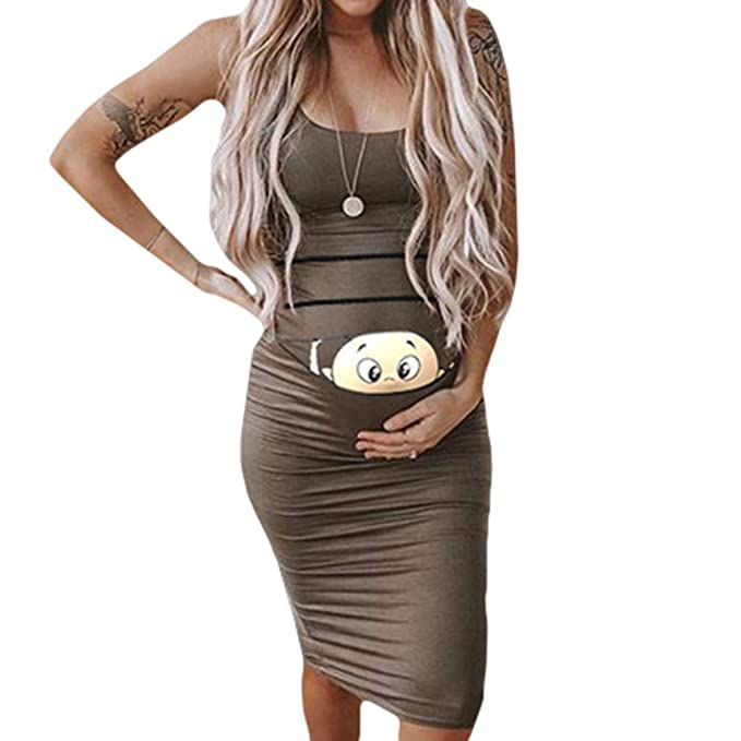 43212e52e0b7 Tallas Grandes Vestido Embarazada para Premamá - Moda Slim Midi ...