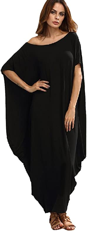 Isshe Robe Longue Manche Courte Ete Femme Robe Tunique Habillee Maxi D Ete Simple Robe Droite Fluide Ete Boheme Imprimee Habillee Robes Fluides Plage Robe De Tous Les Jours Feminine Noir S