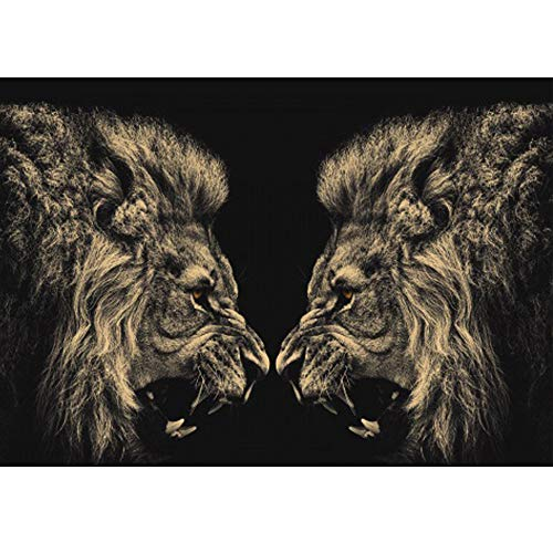 Clearance Sale 5D Diamond Painting Rhinestone Lion Side Face Roar Symmetry Embroidery Wallpaper DIY Cross Stitch Arts Kit Crystal for KidsFor Adult Decoration Drawing 40X30CM