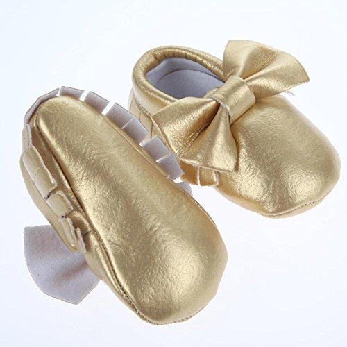 Domybest weiche Sohle Lederschuhe Infant Boy Girl Kleinkind Schuh Golden