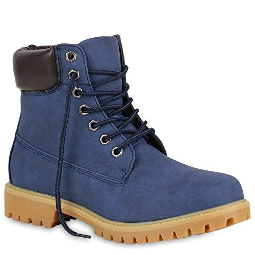 Stiefelparadies Herren Worker Boots Profilsohle Flandell Dunkelblau
