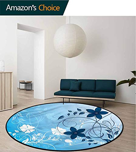 RUGSMAT Floral Super Soft Circle Rugs for Girls,Flower Petals Nature Essence Non-Slip Soft Floor Mat Home Decor Round-47
