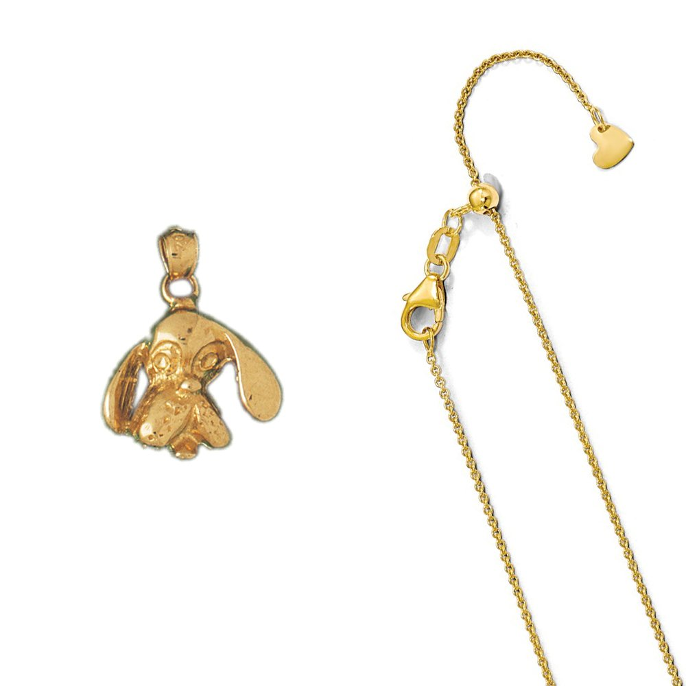 14K Yellow Gold Bloodhound Dog Pendant on an Adjustable 14K Yellow Gold Chain Necklace
