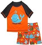 iXtreme Baby Boys Cute Whale Short Sleeve Rashguard Top Board Swim Trunk Set, Orange, 18 Months