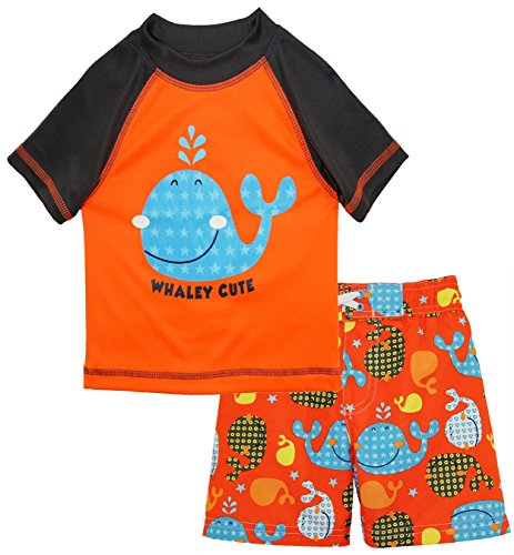 iXtreme Baby Boys Cute Whale Short Sleeve Rashguard Top Board Swim Trunk Set, Orange, 18 Months by iXtreme (Image #1)