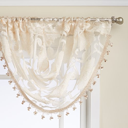 Regal Home Collections Milawi Sheer Jacquard Scroll Waterfall Valance, 57 by 37-Inch, Beige