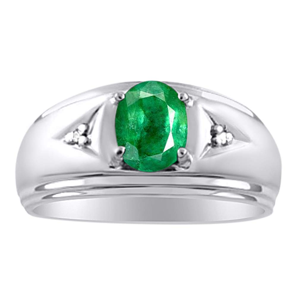 RYLOS Simply Elegant Beautiful Green Emerald & Diamond Ring - May Birthstone