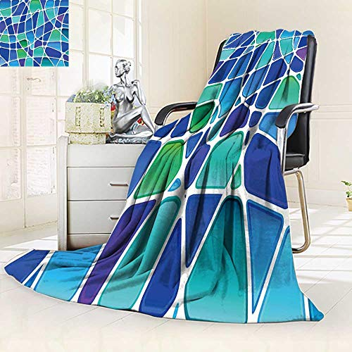 YOYI-HOME Digital Printing Duplex Printed Blanket Abstract Stained Glass Mosaic Summer Quilt Comforter/31.5