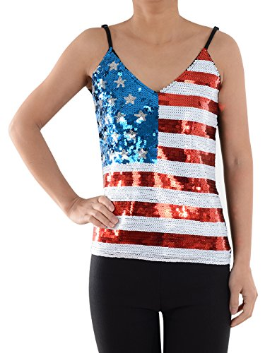 Anna-Kaci Womens Patriotic USA Flag American Sequin V Neck Cami Tank Top, Multicolored, (Sequin V-neck Tank)