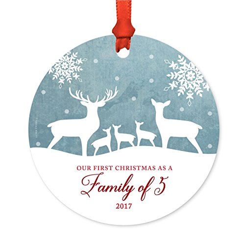 Andaz Press Family Metal Christmas Ornament, Our First Christmas as a Family of 5 2017, Rustic Deer Winter Snowflakes, 1-Pack, Includes Ribbon and Gift Bag (Christmas Custom Baubles)