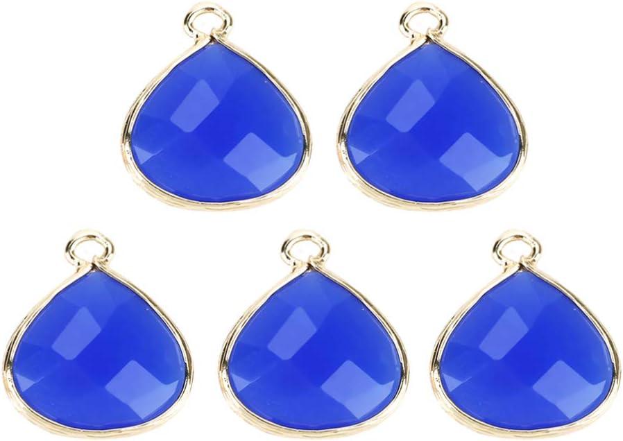 Artibetter 5 Piezas de Encantos de Piedras Preciosas de Vidrio Abalorios en Forma de Abanico Conector de Piedra de Nacimiento Diy para Hacer Artesanías de Joyas (Azul)