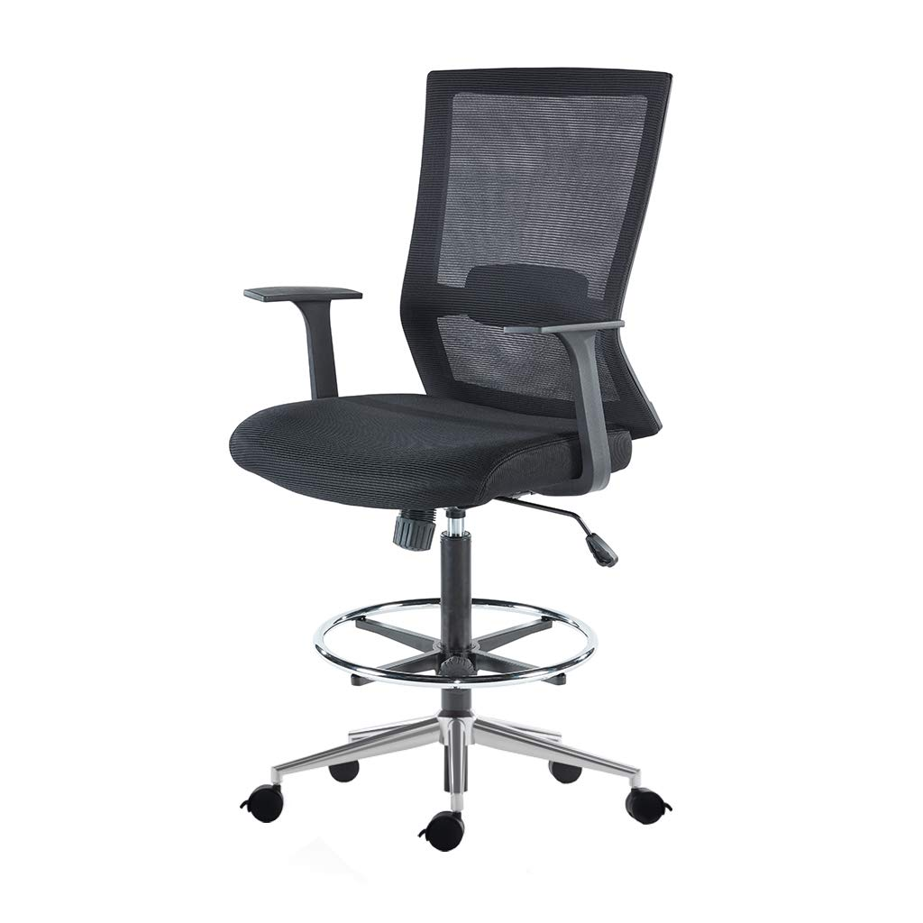 Sunon Mid-Back Black Mesh Drafting Chair, Tall Office Chair with Adjustable Foot Ring Drafting Table Chair, Movable and Brake Casters (Black & Brake Wheels)