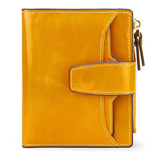(AINIMOER Women's RFID Blocking Leather Small Compact Bi-fold Zipper Pocket Wallet Card Case Purse(Waxed Yellow))