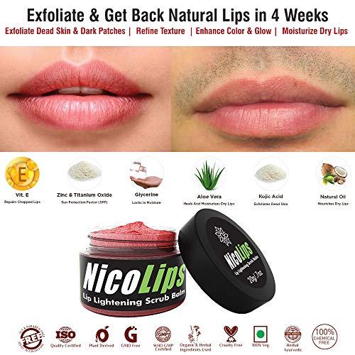 NicoLips - Lip Scrub Gel Cream Balm for Lightening & Brightening Dark Lips, 20g Moisturizing Pre Make Up & Removes Nicotine/Shisha Marks & Lipstick Dark Stains (Lip Stain Plumping)
