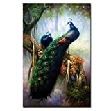 DINGDONGART- Green Peacock Canvas Wall Art Painting Framed Animal Poster Artwork Flower with Tree Picture for Living Room, Bedroom Decor 1 Pcs