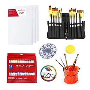 S & E TEACHER'S EDITION Carrying Case Paint Set 42 Pcs, 15 Pcs Paint Brushes, 24 Acrylic Painting, Palette, Palette Knife and Sponge.