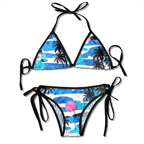 Girls' Bikini Sets Ocean Hibiscus Palms Iland Pattern Sexy Fashion Swimsuits Beach Swimming ()