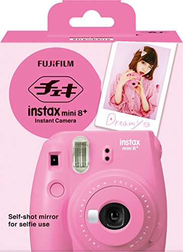 51xRsN2NYcL - Fujifilm Instax Mini 8+ (Strawberry) Instant Film Camera + Self Shot Mirror for Selfie Use - International Version (No Warranty)