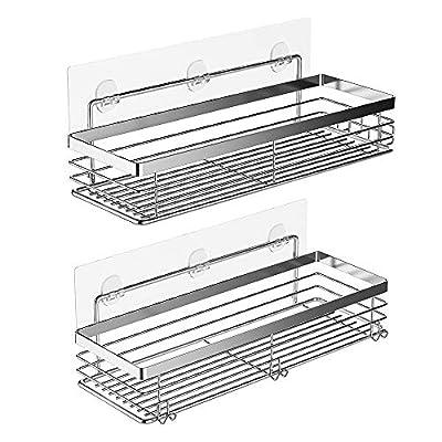 Orimade Bathroom Shelf with 5 Hooks Shower Organizer Storage Kitchen Rack Adhesive No Drilling Stainless Steel - 2 Pack