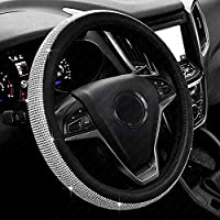 New Diamond Leather Steering Wheel Cover with Bling Bling Crystal Rhinestones, Universal Fit 15 Inch Car Wheel Protector...