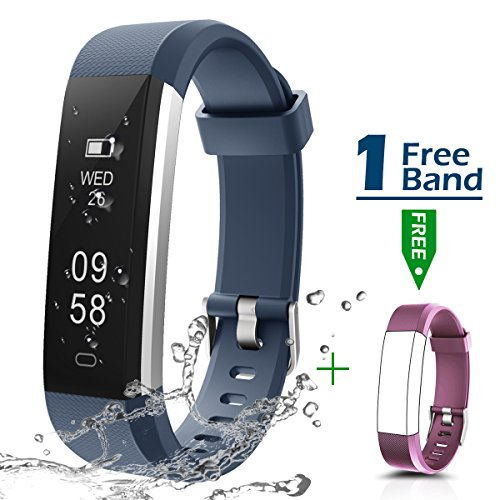 cker, Smartband with Replaceable Strap IP67 Waterproof Sports Watch Wristband Step Counter, Calorie Counter for Android and iOS Smartphone (Blue +Purple Replacement Band) ()