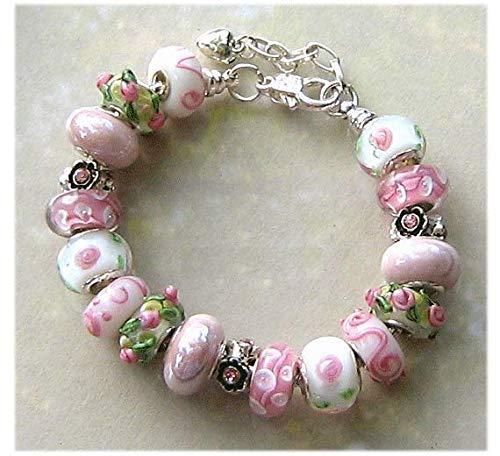 - White Pink Rose Flower Lampwork Glass Bead Bracelet Gift