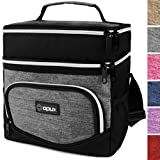 OPUX Insulated Dual Compartment Lunch Bag for Men, Women | Double Deck Reusable Lunch Tote Cooler Bag with Shoulder Strap, Soft Leakproof Liner | Medium Lunch Box for Work, Office (Heather Grey)