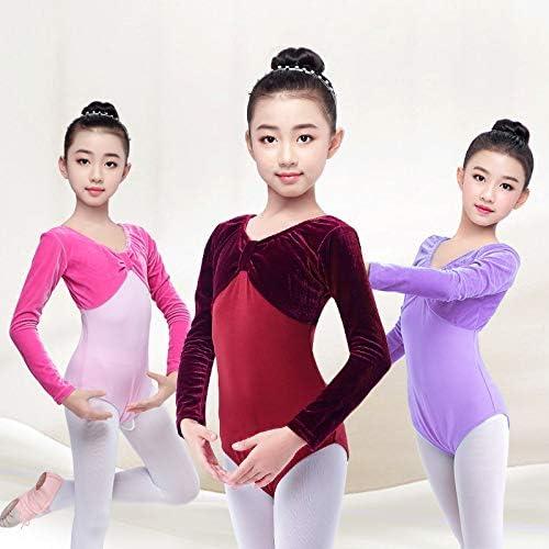 Girls Velvet Dance Leotards for Kids Ballet Gymnastics Lace Bodysuits Dancewear