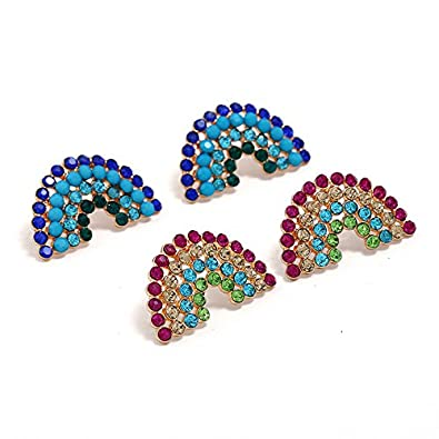 WLL Womens Gold Plated Multi Crystal Rainbow Stud Earring
