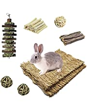 kathson Rabbit Grass Mat Bunny Grass Mats Woven Hay Bed Mat with Chew Toys Rabbit Cage Accessories Rattan Ball Timothy Cake Molar String Exercise Play Sleep Rest for Hamsters, Chinchillas, Squirrels
