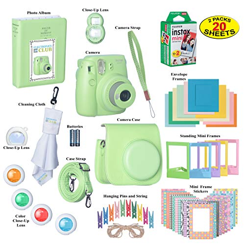 Fujifilm Instax Mini 9 Instant Film Camera Bundle with Over 15 Accessories | 20 Sheets of Instant Film + Mini Nine Leather Case + Photo Album + Lens Filters + Mini Frames + More from ElectronicsClub