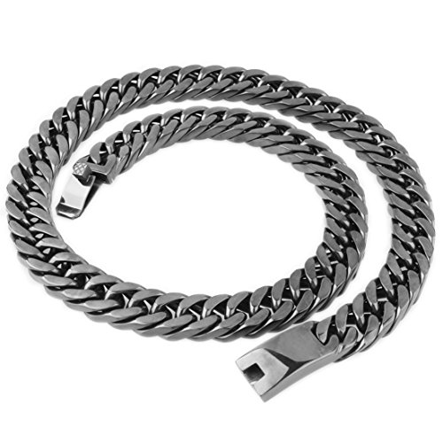 FANS JEWELRY Heavy Polished 15MM Stainless Steel Cut Double Curb Cuban Chain Link Necklace Bracelet for Mens (Black Tone 30