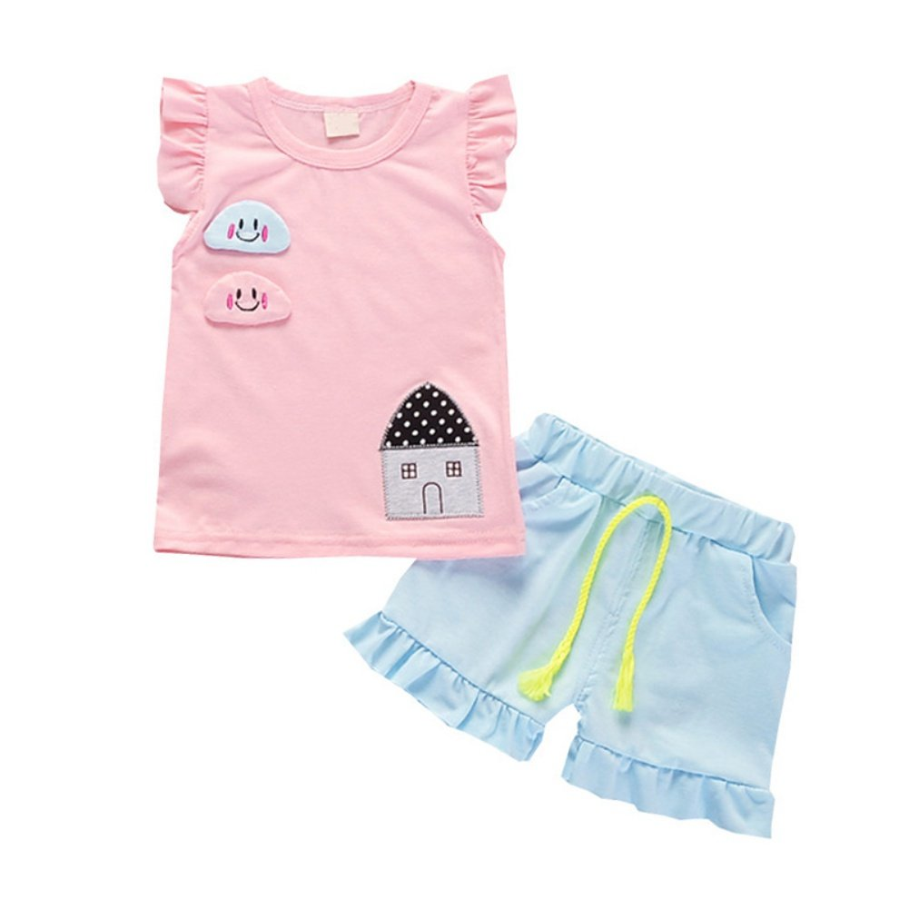 Soly Tech Baby Girls Sleeveless Cartoon Pattern T-Shirts and Ruffles Shorts