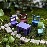 Mini Resin Stool Chair Desk Figurine Micro Landscape Ornament Gardening Decoration DIY Bonsai Craft